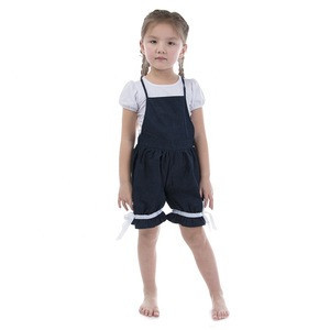 OEM Boutique Icing Jean and Ruffle Knickerbockers Overalls Short Pants for Summer Girl Pants