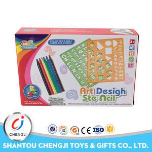 Promotion kids plastic eco-friendly drawing stencil art set for kids