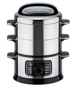 Stainless steel dim sum electric steamer electric food steamer with 3 layers and mechanical control