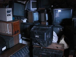 Used and old CRT monitors and TV sets