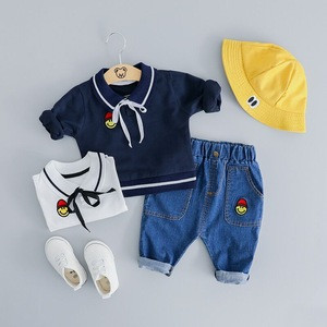 Wholesale Spring toddler little girl clothing sets denim jeans girls clothing set
