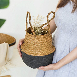 Woven Baskets, Seagrass Plant Pot Belly Basket for Indoor Plants