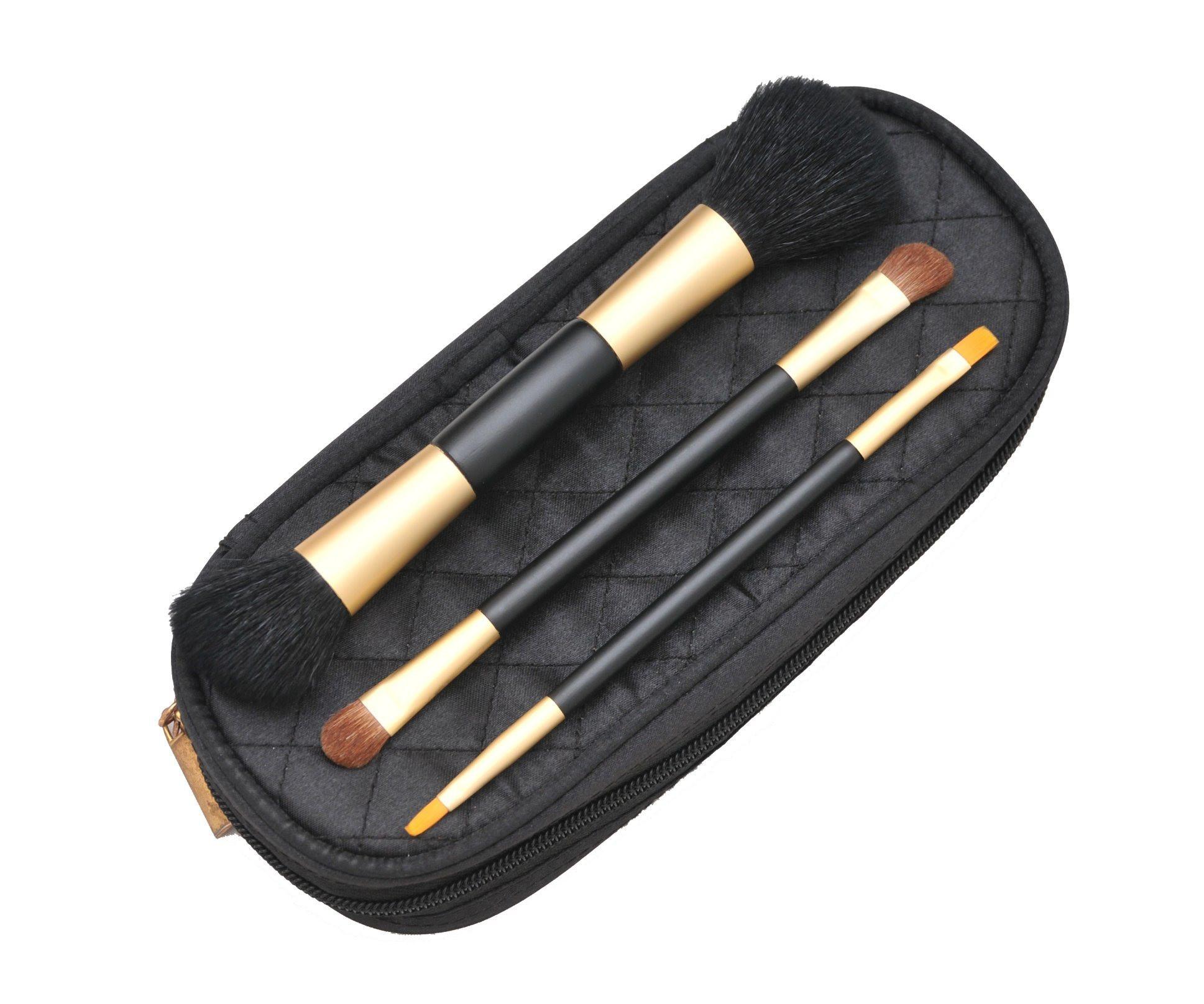 3PCS Travel Brush Set Dual Ends Brush Golden Ferrule with Zip Pouch
