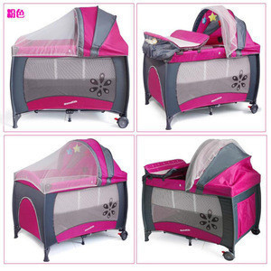 Baby Travel Cot with toys baby folding bed with wheels