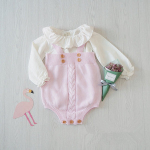 BR041 new 2017 Spring Autumn Baby rompers knit gray pink newborn baby clothes