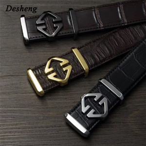 Business Man High Grade Blet Buckle Leather Belt With Custom Logo Buckle