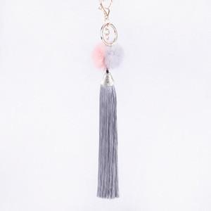 Christmas gift mink fur ball tassel metal ring charm tassel pompom fringes keychain