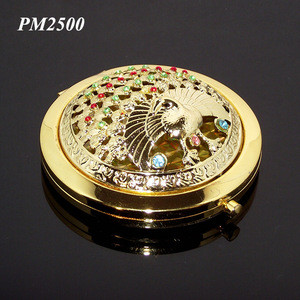 Fashion Unique Crystal Peacock Shaped Hollow Metal Pocket Mirrors Exquisit Souvenir Gift Stainless Steel Fancy Makeup Mirror