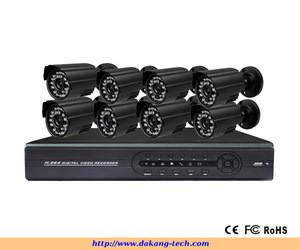 H.264 8ch CCTV Camera System / 8 CCTV Cameras + 8ch Digital DVR / Wire CCTV Camera DVR Kit