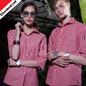 Hot sale wholesale restaurant kitchen hotel bar staff shirt unisex pink cheap hotel uniform