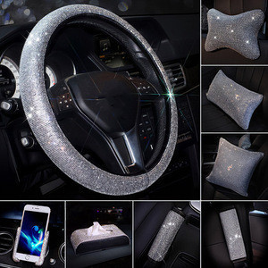 Luxury 15 PCS Full Sets Shine Bling Rhinestone Steering Wheel  Mirror Cover Pillow Phone Holder Car Interior Accessories