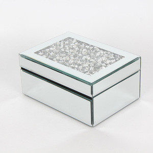 Luxury Silver Crystal One Layer Velvet Material Inside+Glass Mirror Jewelry Box With Diamond Decor+ Marriage Wedding Gift