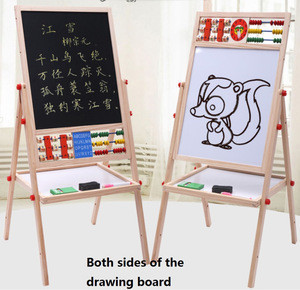 Multi Function Adjustable Wooden Draw Board Magnetic Board White Board With Storage Tray & Abacus & Clock