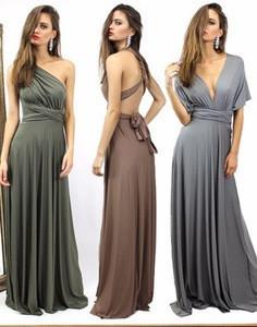 NEW Womens Bridesmaid Convertible Infinity Multi-Way Long Full Length Wrap Long Maxi Dress