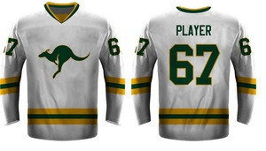 OEM Service Men Custom Printing Team Ice Hockey White and Green Jerseys