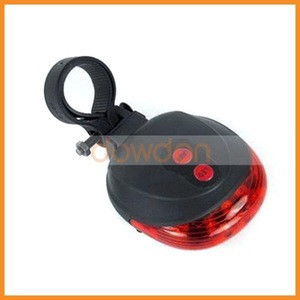 Rear Riding Bicycle Accessories 5 LED 2 Laser Red Beam Light Safety Warning Bike Tail Lamp