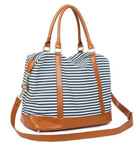 Strip canvas tote bag Women Ladies Canvas Weekender Bag Carry-on Tote Duffel in Trolley Handle