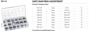 WD--115  225pc snap ring assortment