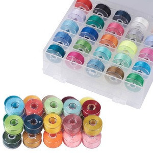 25/36 pcs Assorted Colors Embroidery Pre-wound Bobbin Thread Case Set Sewing Machine Threads Cotton Polyester Wholesale kit