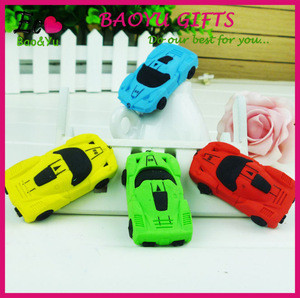 3D Car Shaped Rubber Toy Erasers New Design cartoon Erasers