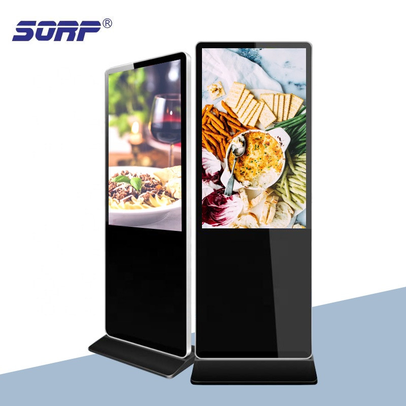 65 Inch IR touch screen digital signage advertising display panels stand for supermarket