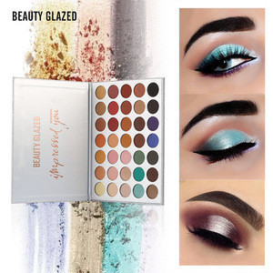 BEAUTY GLAZED Highlight Glitter Matte Eyes Beauty Makeup Superior Quality Waterproof Lasting 35 Colors Eyeshadow Palette