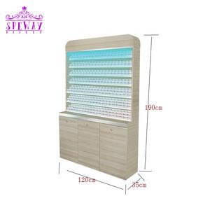 Beauty salon wooden nail polish display shelf with led light