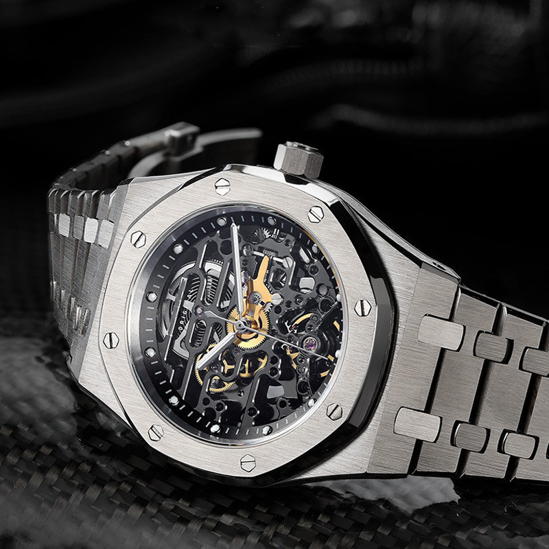 Custom Hot Luxury Mens Skeleton Mechanical Watches 316L Stainless Steel Sapphire Glass Wrist Watch Men