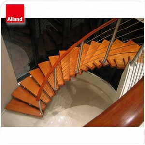 Decorative stainless steel beam interior round curved stairs with glass railing