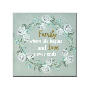 Friend and family words with Flowers Crown modern hand painting canvas or art Create a comfortable environment for you
