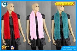 High Quality Knitted Rex-Rabbit Scarf, real fur,soft