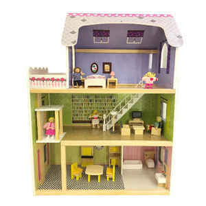 Hot Sale Children's Simulation of Villa Three Story Wooden Villa Large Furniture Toys For Baby