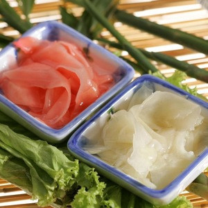 Japanese sushi ginger pickled red and white color