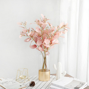 New design garden home  decoration artificial green plant wall wedding artificial silk flowers eucalyptus leaves