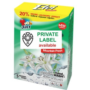 Powder laundry detergent for white and color fabrics Private label available