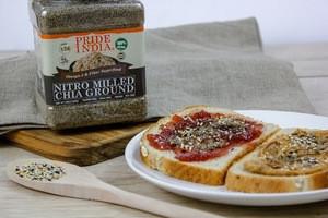 Pride Of India - Raw Black Chia Seed Meal Flour - Cold Milled - Omega-3 & Fiber Superfood, 2 Pound (32oz) Jar