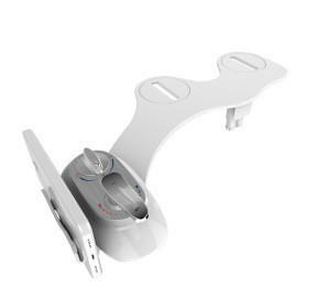 Super slim mechanical hot and cold bidet attachment with phone holder
