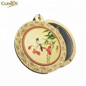 Wholesale 3D pocket wood hand mirror craft