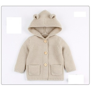 Wholesale in stock kids wear sweaters knitwear pure color baby knitted cardigan with hooded
