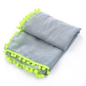 Wholesale neckwear  plain dyed  pompom tassels polyester  shawl scarf