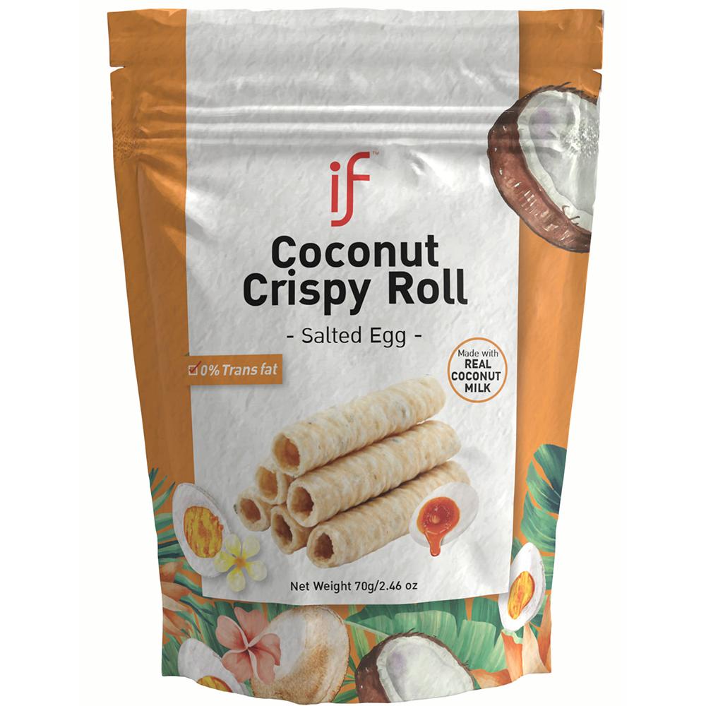 IF Coconut Crispy Roll Salted Egg Flavor | Healthy Alternative Snacks | 24 Bag | 2.47 OZ