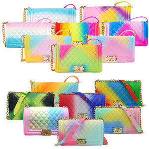 2020 Fashion luxury rainbow hand bags chain lady colorful candy pvc bags women handbags ladies jelly purse and handbags