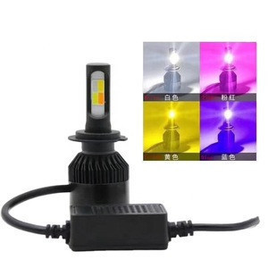 4 colors Flash Led Headlight H1 Kit Cob All In One Auto Change Front Fog Lamp Driving Bulbs