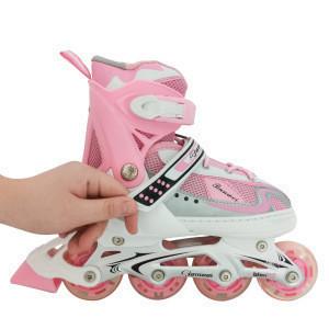 Amazon Hot selling speed inline roller skates pink flashing roller for kids