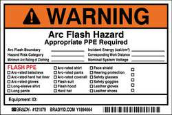 Arc Flash Protection Label 6 in W PK5