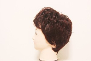 Black brown claret color for commen life short nature curly bangs machine  synthetic middle-aged women wig for asian
