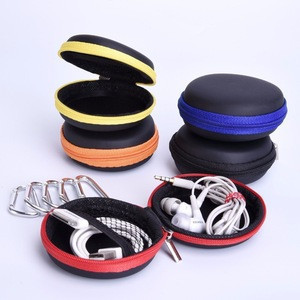 Chengde Custom-made Hard EVA Carrying Case Round Earphone Storage Bag with Climbing Hook for Earbud USB Cable MP3 Oct12S