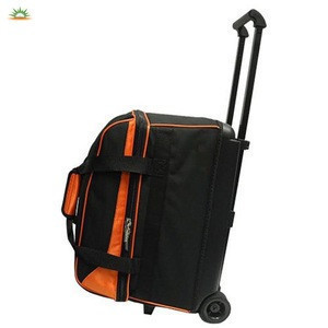 Custom Sports Functional 2 Ball Trolley Bowling Ball Bag with Wheels