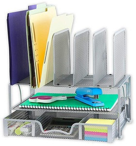 Double metal Tray mesh desk organizer with Sliding Drawer