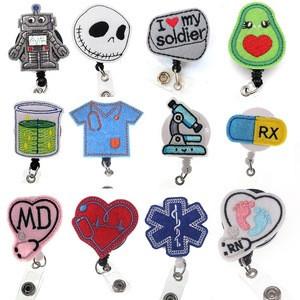 Felt cartoon id badge holder nurse name badge reel clip